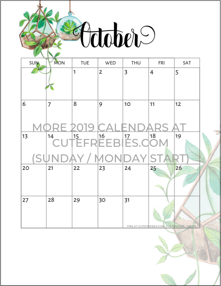 Cute October 2020 Calendar Printable 2019   2020 Calendar Free Printable Plants Theme |   2019 Calendar