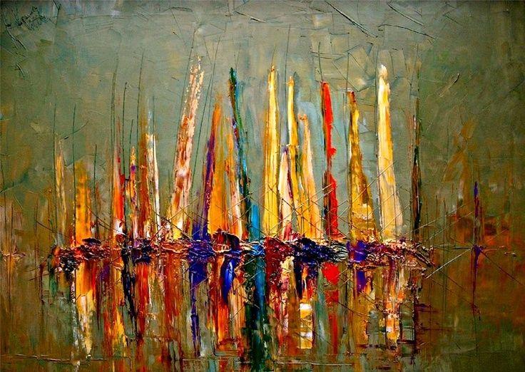 "Artista: Justyna Kopania;  pintura al óleo, 2011 ""Barcos"" - excelentes texturas:"