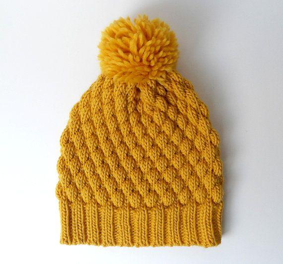 ec6573bd8 Alpaca Wool Pom Pom Knit Hat, Chunky Beanie, Mustard Knitted Hat ...