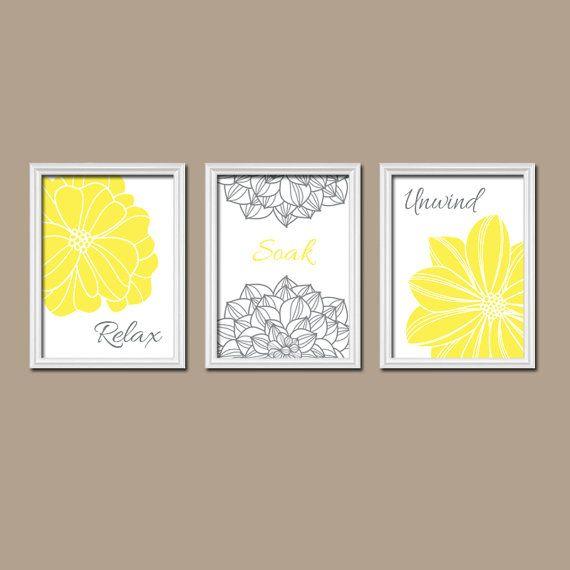 Bright Yellow Bathroom Colors: YELLOW Flower BATHROOM Wall Art, Yellow Bathroom CANVAS Or