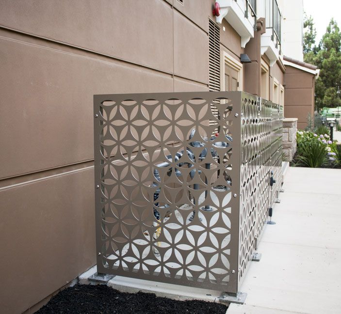Bok modern fence screens used to hide unsightly utility for Outdoor metal privacy screens
