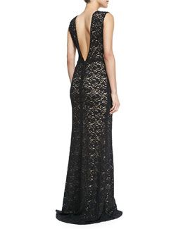 T8KBC Alice + Olivia Mia Front-Slit Lace Gown