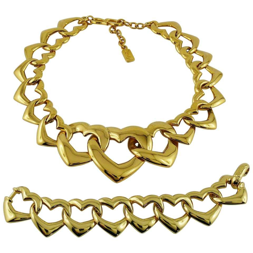 Yves Saint Laurent YSL Vintage Heart Necklace and Bracelet Set