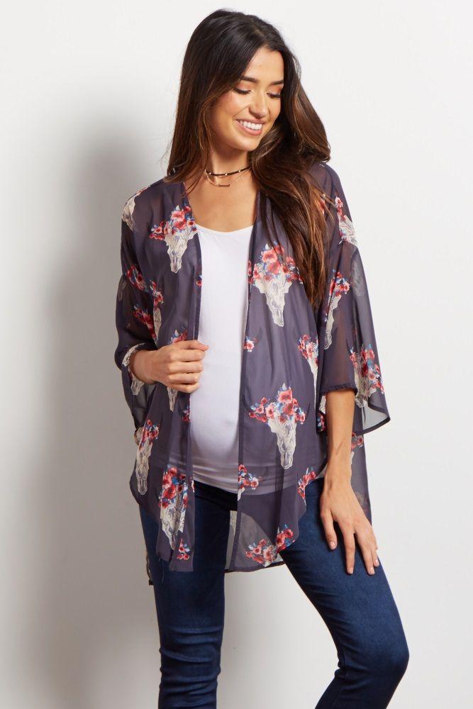 9b23d5b3b6dc0 Charcoal Printed Chiffon Maternity Kimono | Maternity Spring/Summer ...