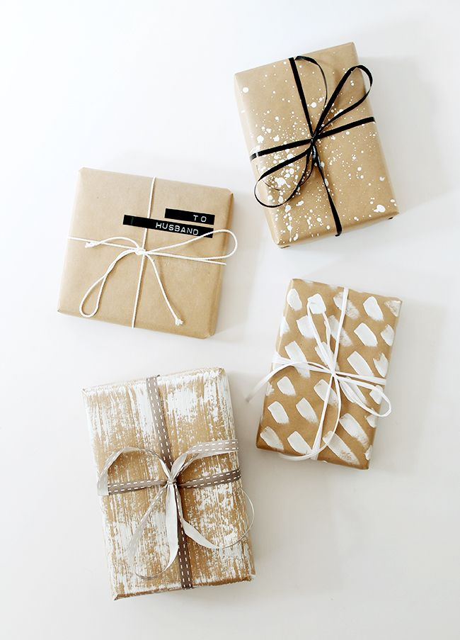 Four diy gift wrap ideas wraps gift and brown paper for Wrapping present ideas for christmas