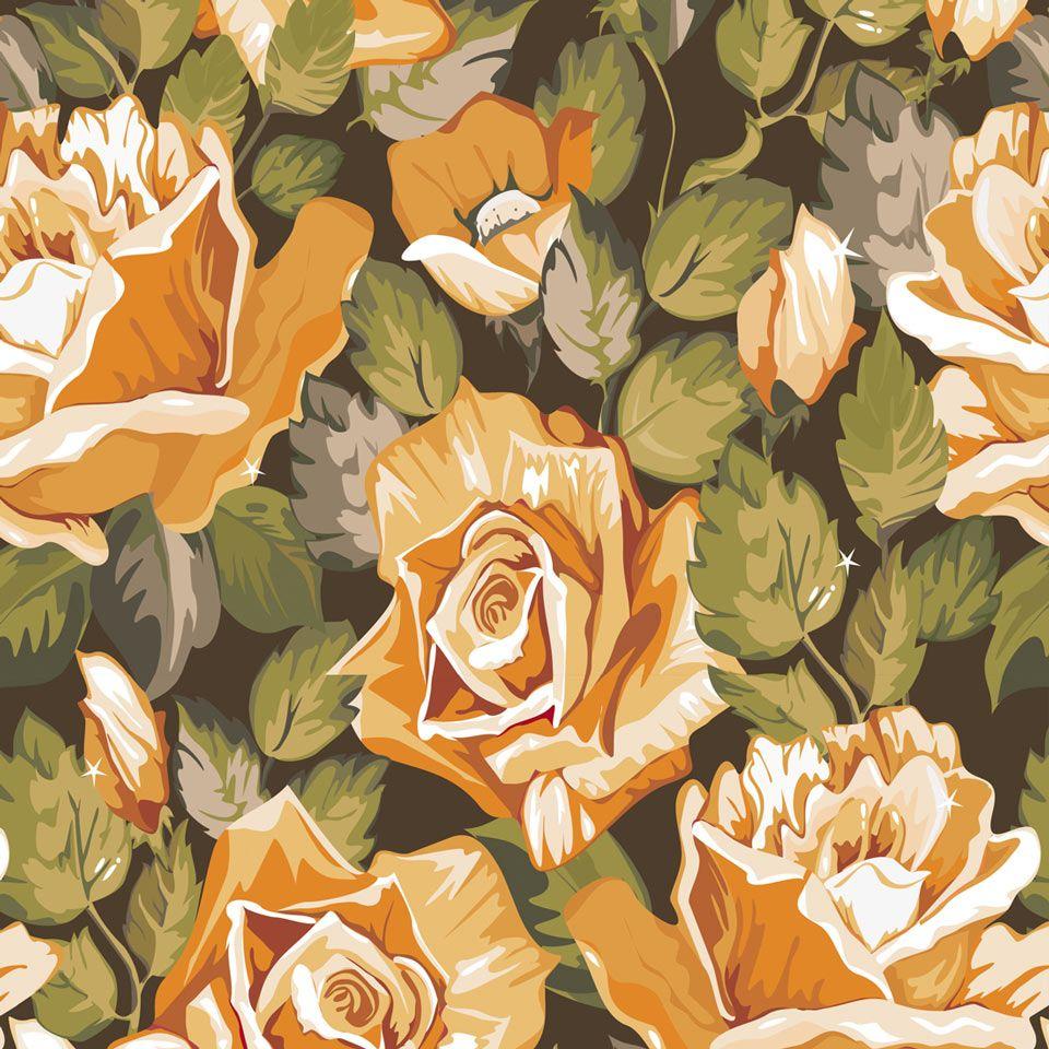 Papel de Parede Rosas em Champanhe - Papel de Parede Digital