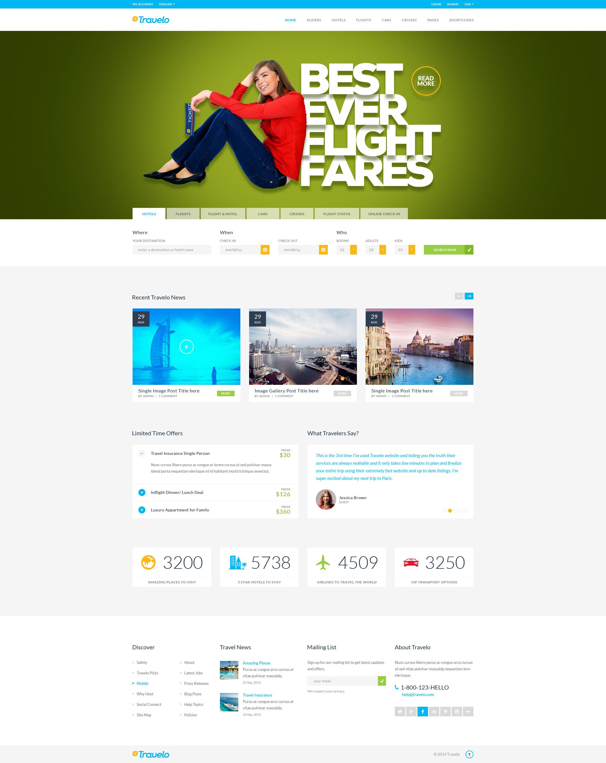 Travelo Travel Tour Booking WordPress Theme Is A Good Website Template For Hotel