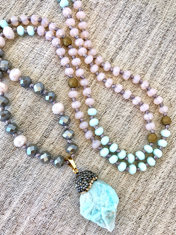 Amazonite Pendant Mala Necklace Crystals Mala Necklace Light Pink