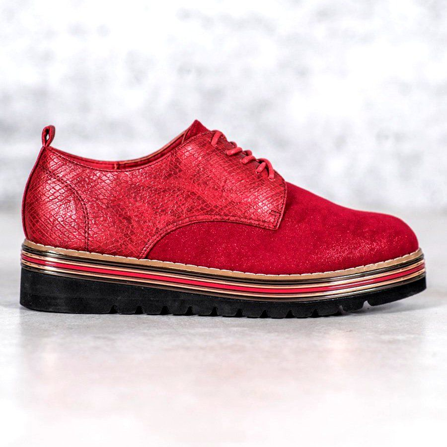 Shelovet Polbuty Na Platformie Snake Print Czerwone Shoes Women Heels Perfect Shoes Shoes