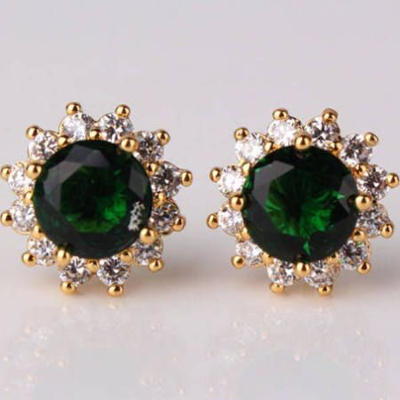 emerald yellow gold earring stud - Google Search