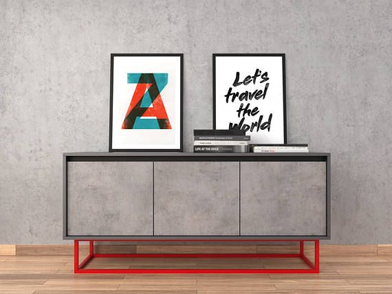 midcentury modern sideboard black and red