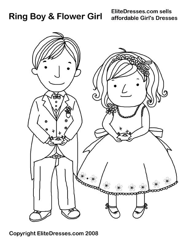 Wedding Ring Bearer and Flower Girl Coloring Page, Picture