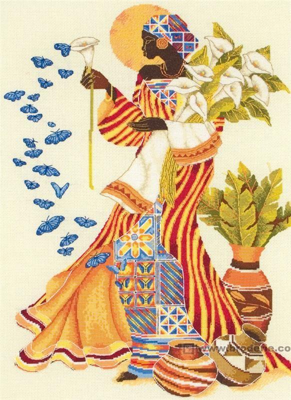 point de croix africaine & papillons & fleurs - cross stitch african woman & butterflies & flowers