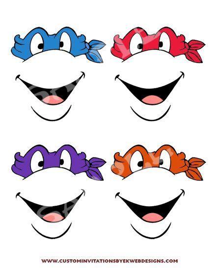 Image Result For Ninja Turtle Face Template Birthday Rh Com Outline Printable Mask T