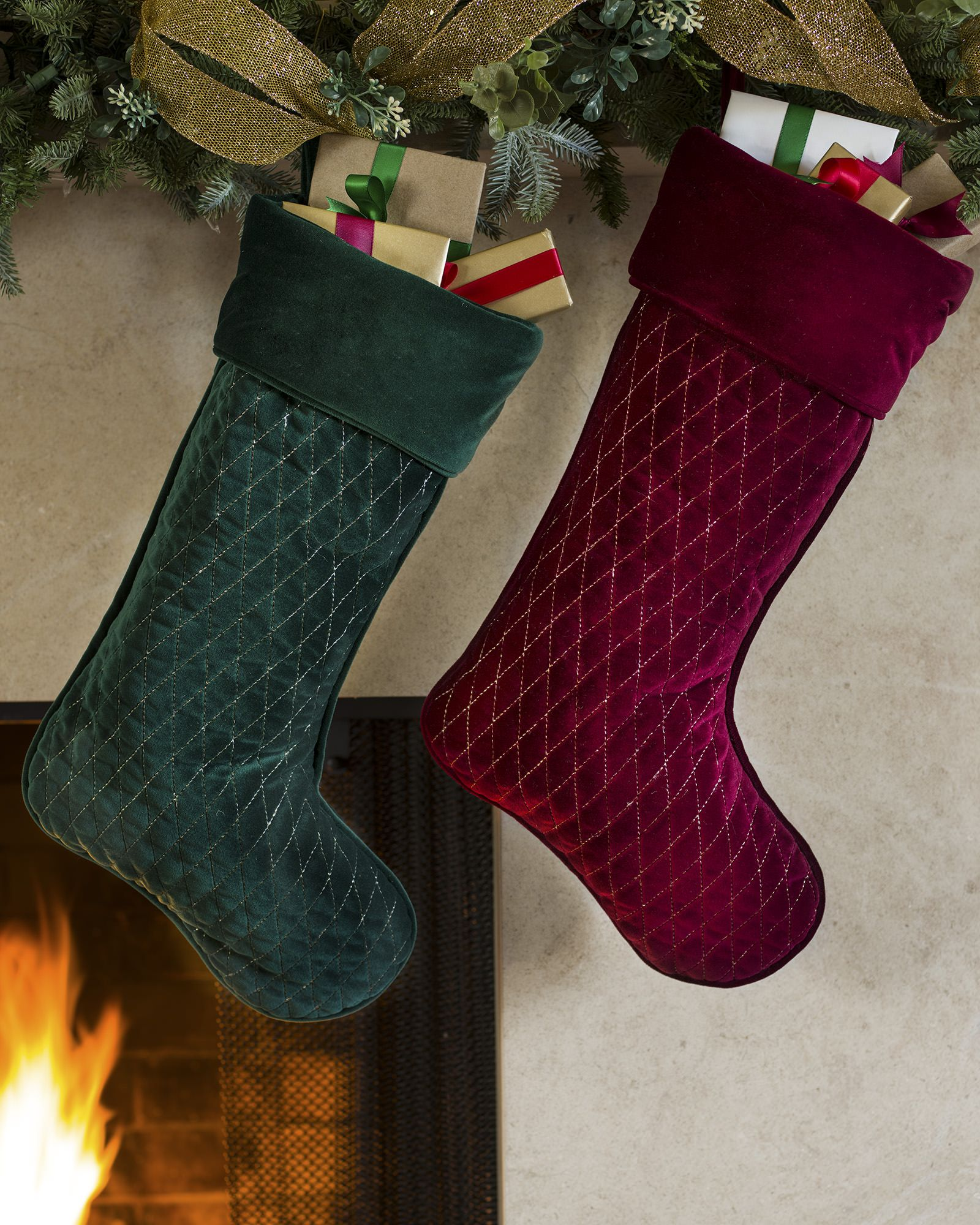 59184fbff Personalized Florentine Quilted Velvet Christmas Stocking