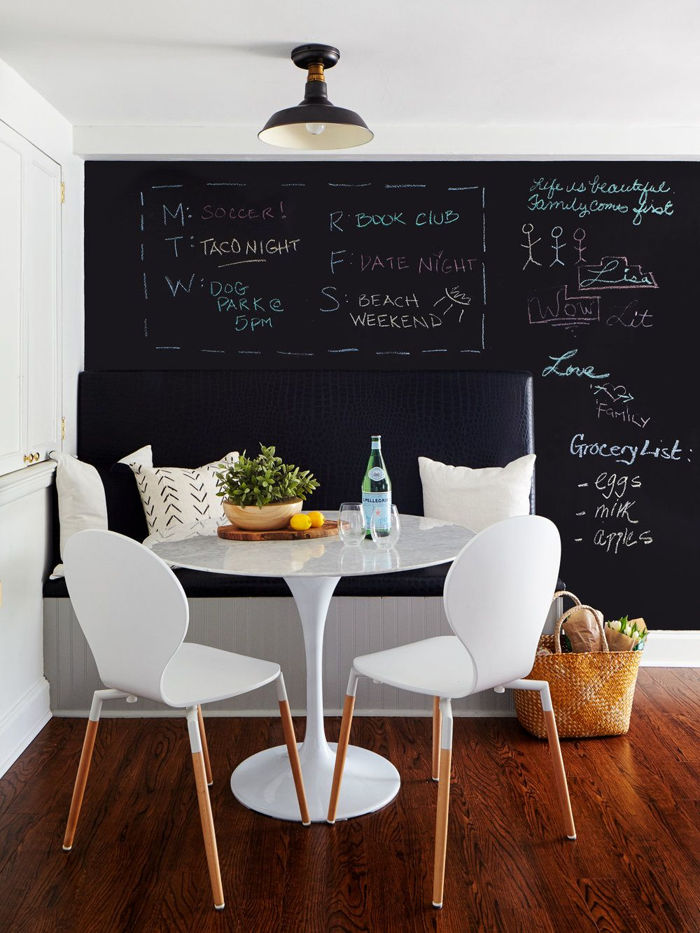 Black Croc Upholstered Bench + Chalkboard Wall. Minimalist Dining RoomThe  ...