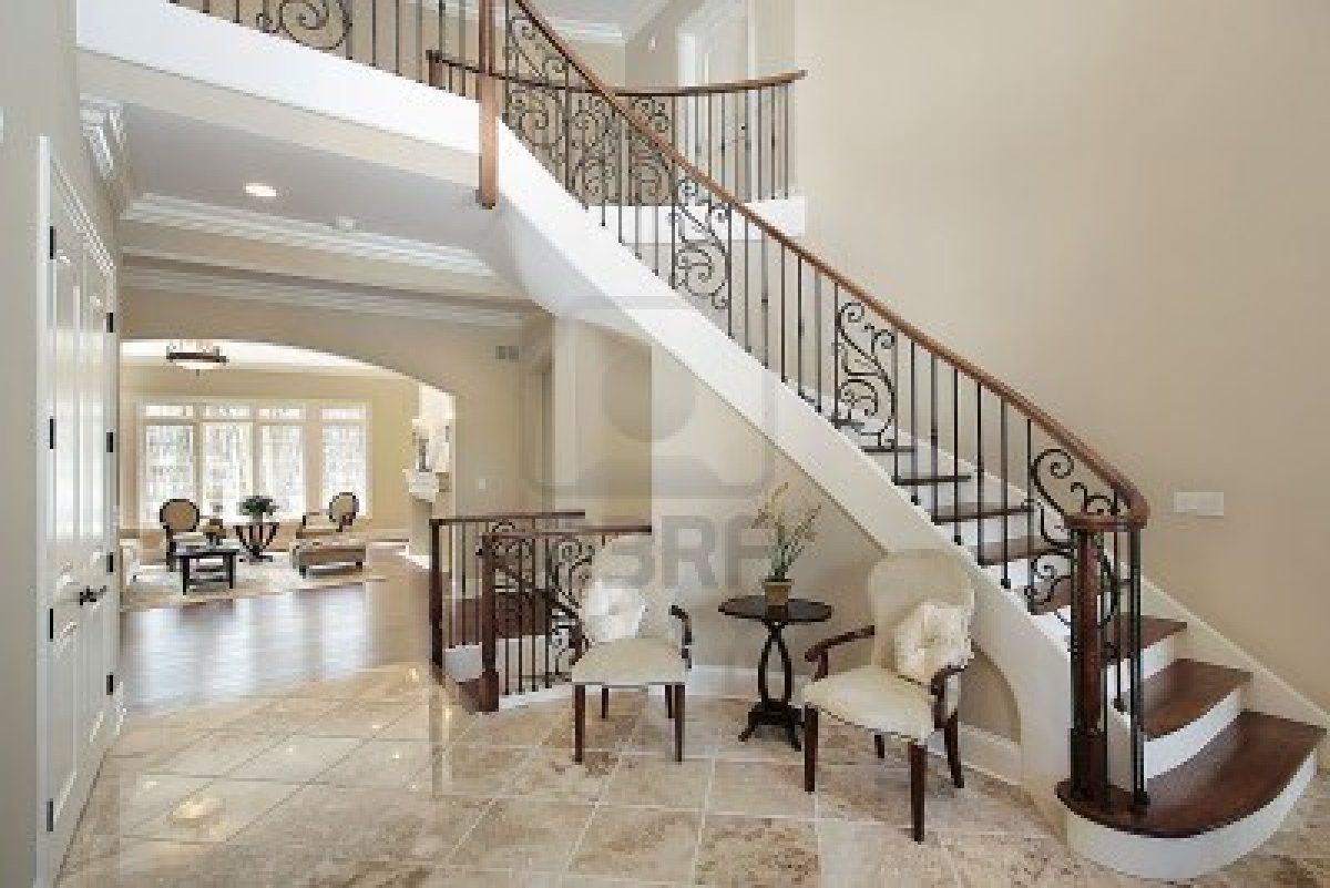 Chairs In Curved Foyer | Staircase 1200x801 Foyer With Curved Staircase In  Luxury Home Royalty .