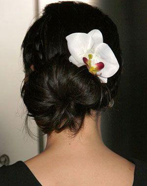 Hair Bun With Orchid Flower Bun Hairstyles Black Wedding Hairstyles Hair Styles