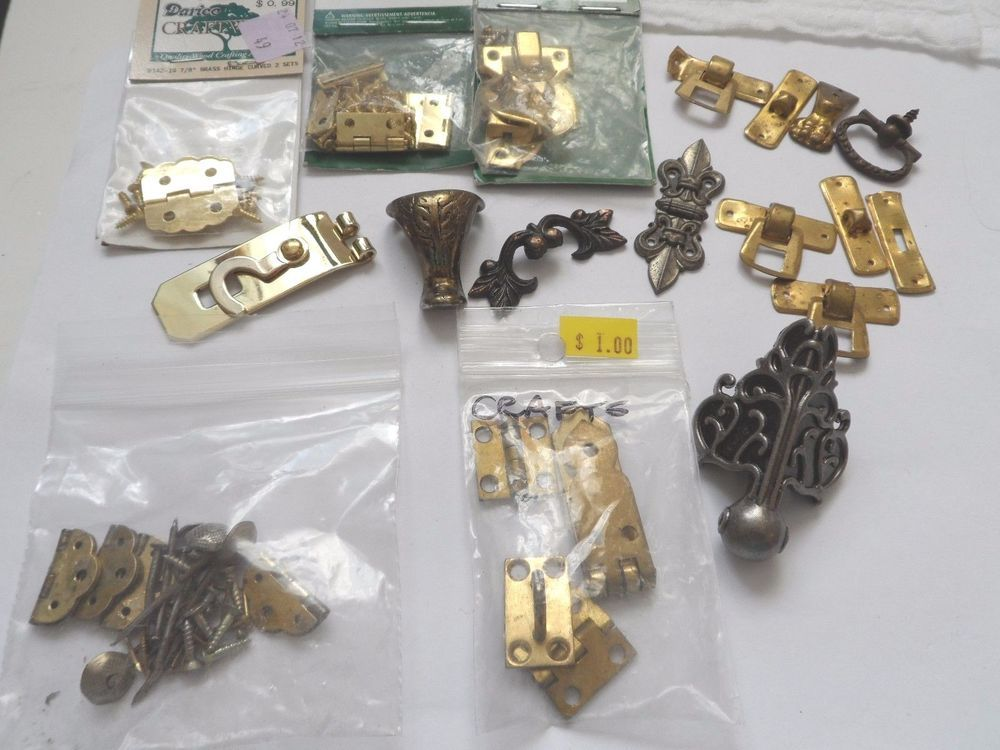 Junk Drawer Lot Small Hinges Clasps Jewelry box repair