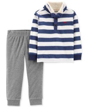 f85551730eab Baby Boys 2-Pc. Striped Rugby Shirt   Jogger Pants Set