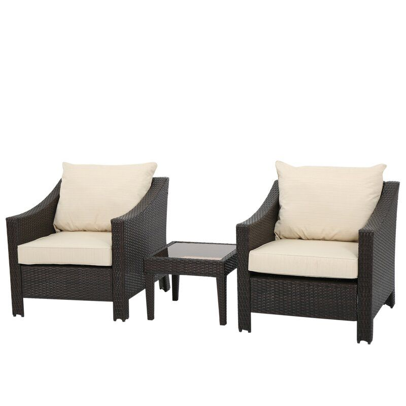 Emerson 3 Piece Rattan Conversation Set with Cushions ...