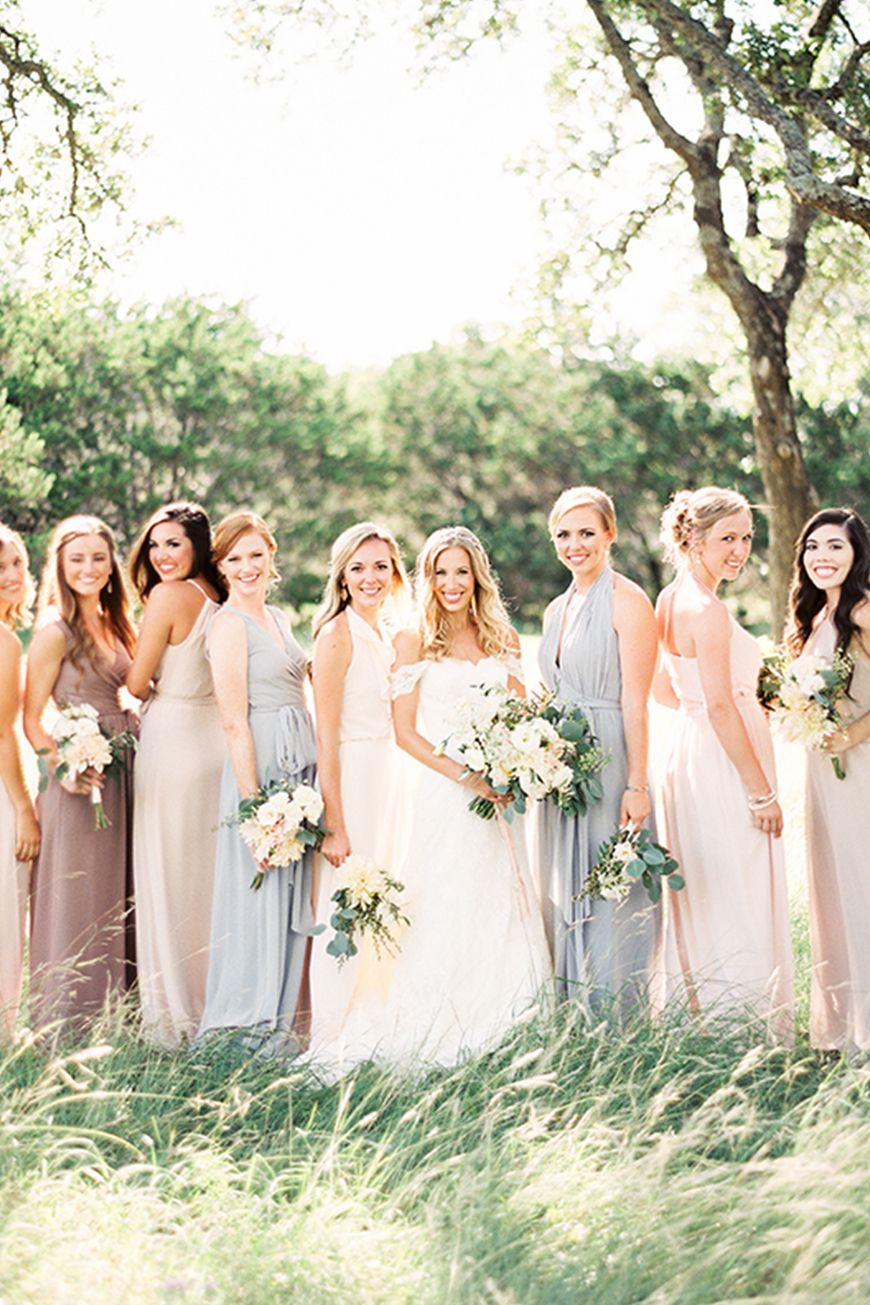 Wedding Ideas By Colour Pastel Bridesmaid Dresses In The Mix Chwv Pastel Bridesmaid Dresses Pastel Bridesmaids Country Wedding Dresses