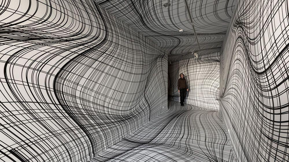 installation by Peter Kogler   ING Art Center, Brussels, 2016. Photo by Vincent Everarts.