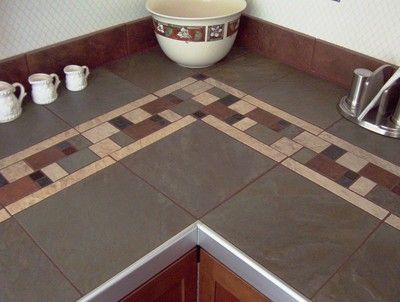 Kitchen tile countertop ideas on kitchen counter hand cut for Kitchen ideas with porcelain countertops