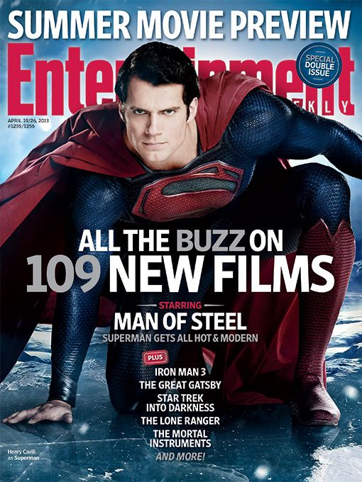 Man Of Steel Headlines EWs Summer Preview Cover Henry Cavill - Magazines look superheroes real