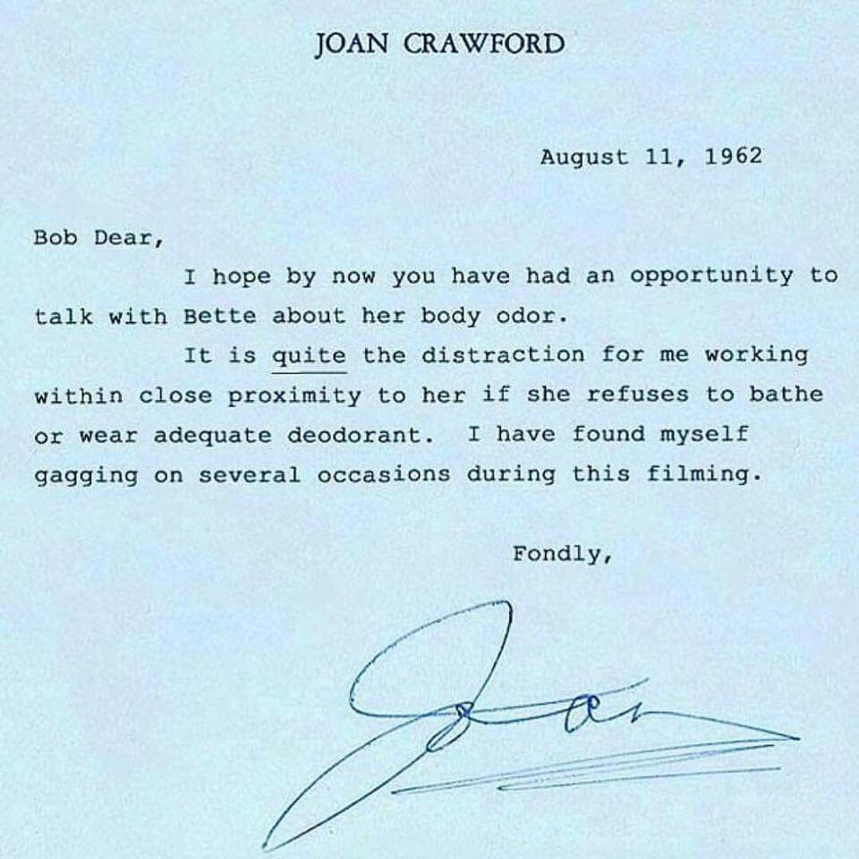 Another example of the Bette Davis and Joan Crawford feud