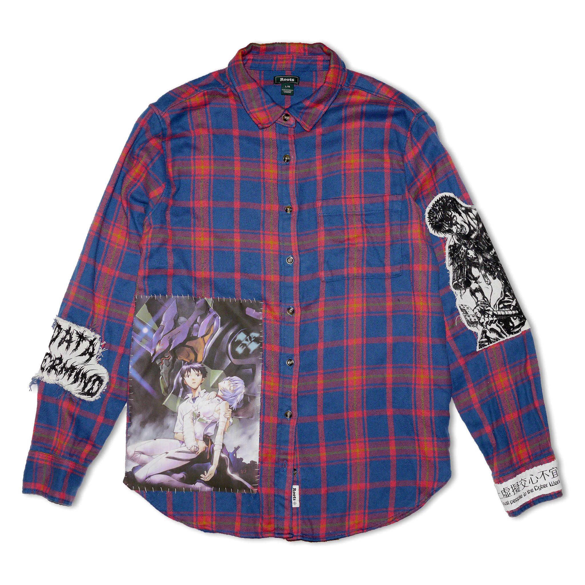 Data overmind 1 of 1 anime flannel shirt evangelion