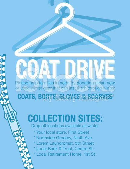 Winter Coat Drive Charity Poster template. Assortment of coats in ...