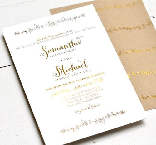Sparrow Gold Foil Stamped Wedding Invitations