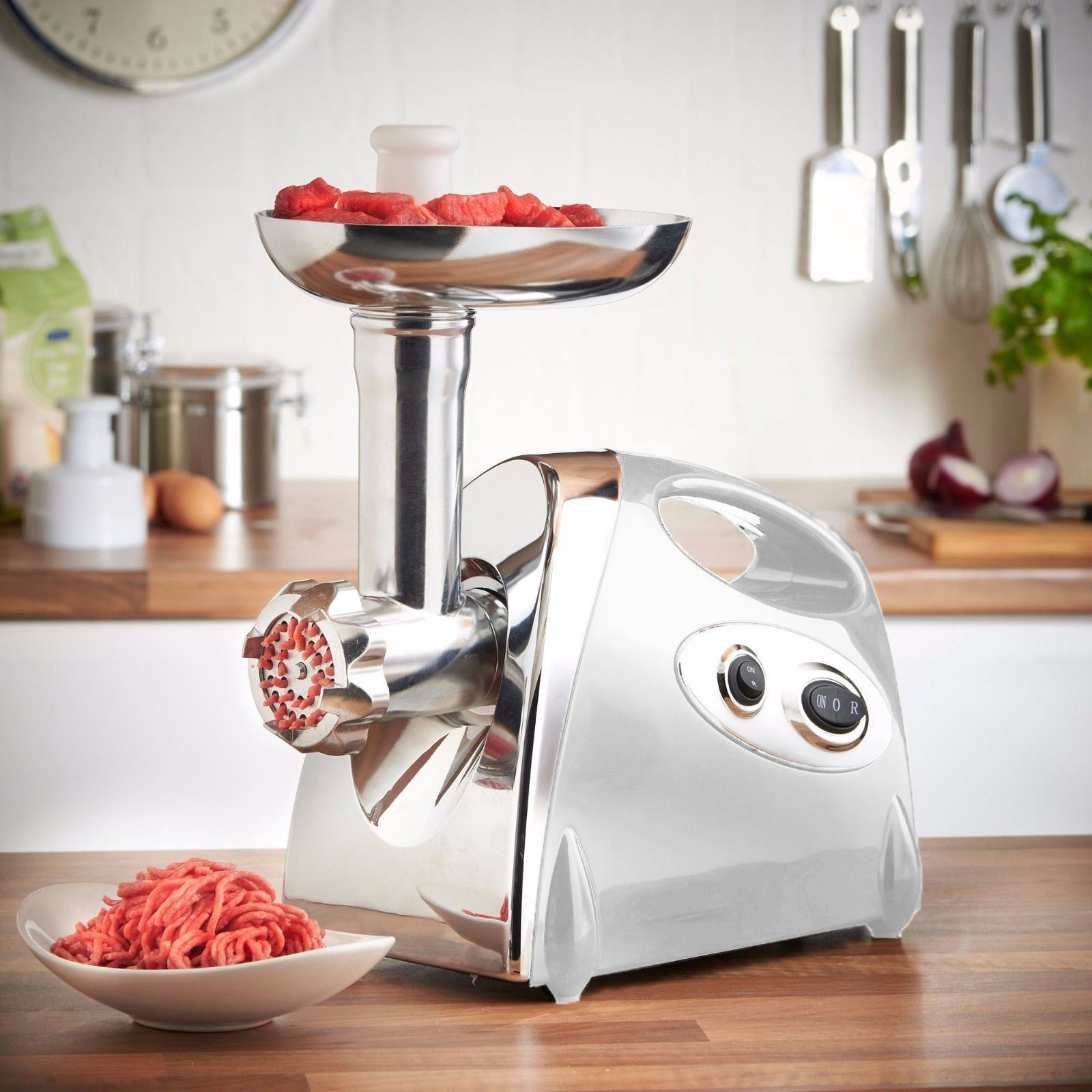Electric meat grinder mincer sausage stuffer luxury white