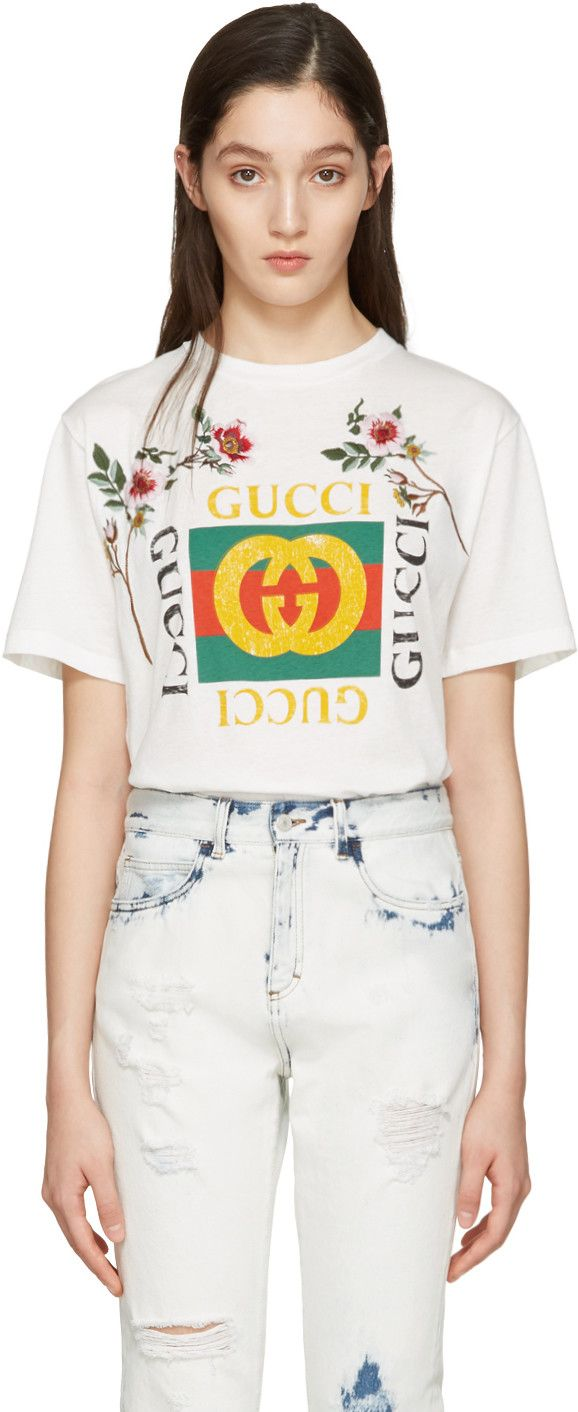 c9958b35fbe Gucci - White Embroidered Logo T-Shirt