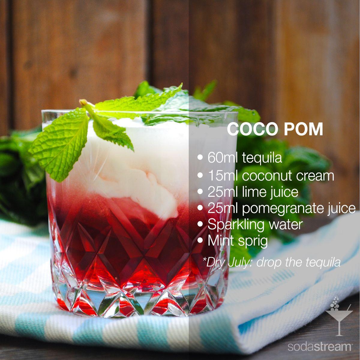 Coco Pom 60ml Tequila 15ml Coconut Cream 25ml Lime Juice 25ml Pomegranate Juice Sparkling Water Mi Coconut Cream Infused Water Recipes Pomegranate Juice