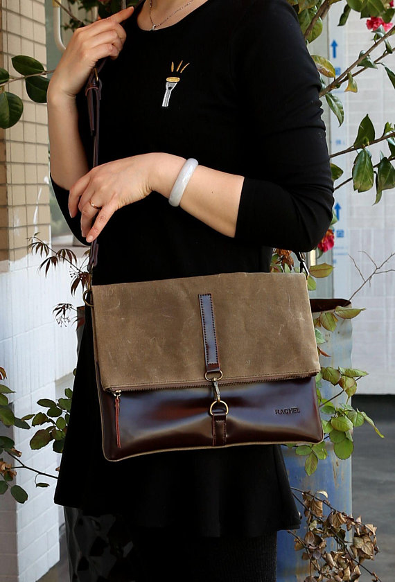4fe5a6fb31 Personalized Waxed Canvas & Leather Hand Made Crossbody Clutch , Mother's  Day, Christmas, Bridesmaid
