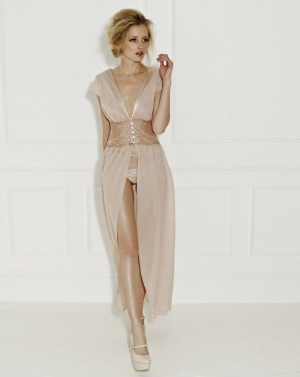 Naked silk boudoir gown by Fleur of England