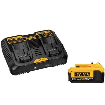 Dewalt 20 Volt Max Lithium Ion Battery Pack And Charger Dcb102bp The Home Depot In 2020 Battery Charging Station Power Tool Batteries Charging Station