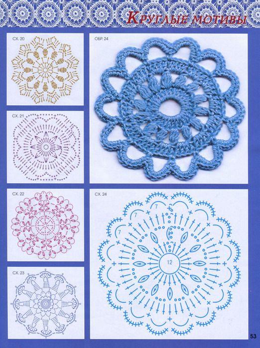 Crochet Motifs with Charts | CROCHET FLORES: GRÁFICOS | Pinterest ...