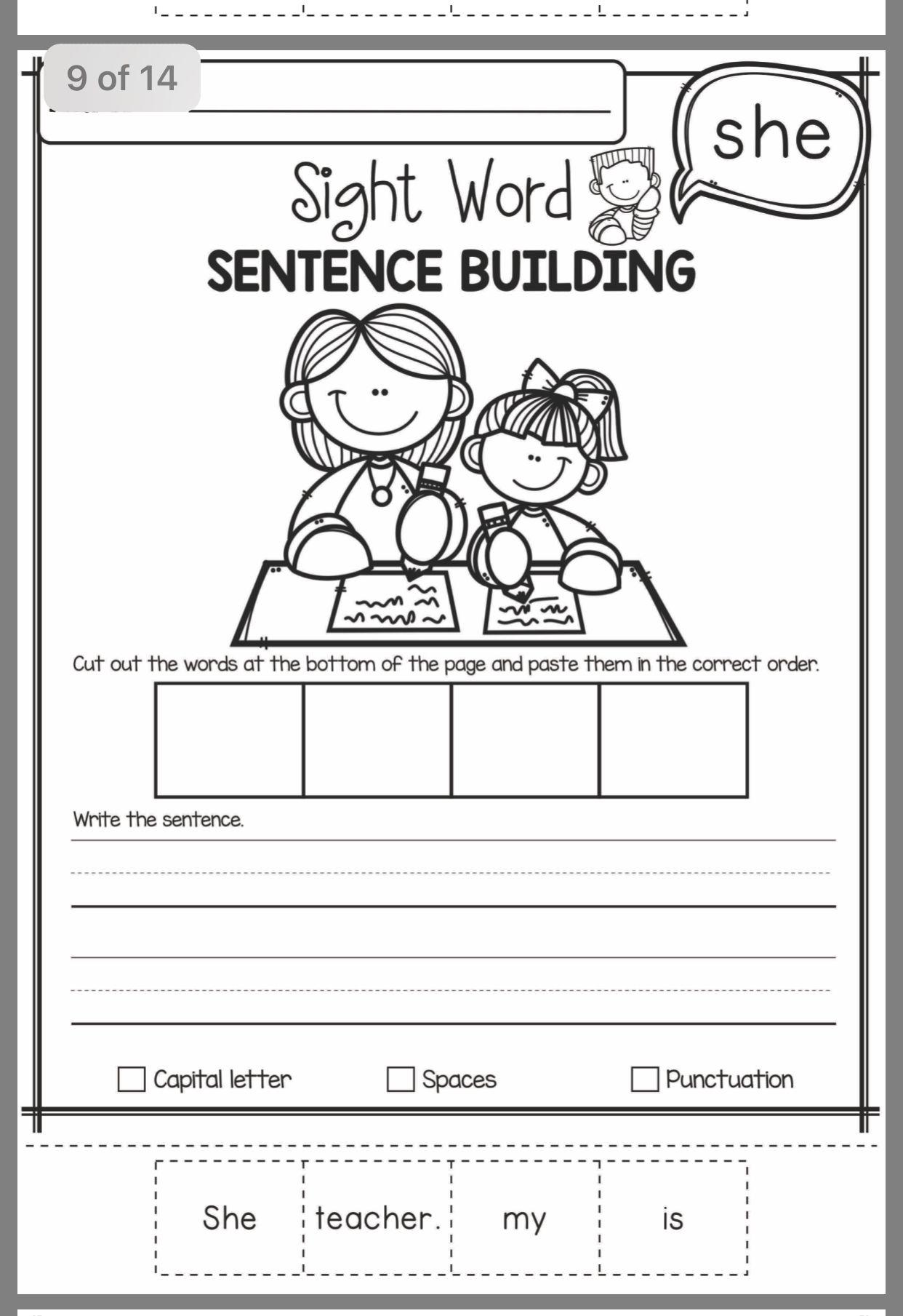 Sight Word Sentence