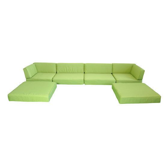 Outsunny 7pc Outdoor Sofa Chaise Lounge Replacement Cushion Covers Green