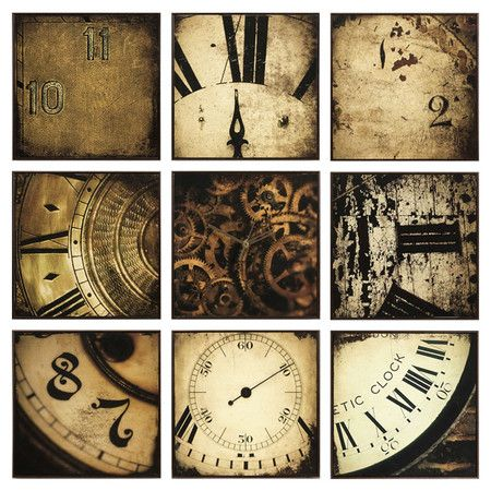 Nine-piece wall art set with antiqued clock motif and working clock mechanism.Product: 9 Piece wall art set    Constructio...