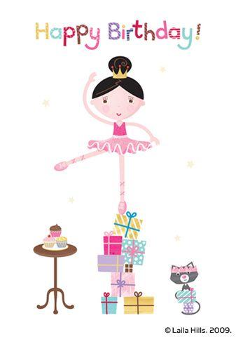 Ballerina Birthday Card Happy Birthday Tea Party