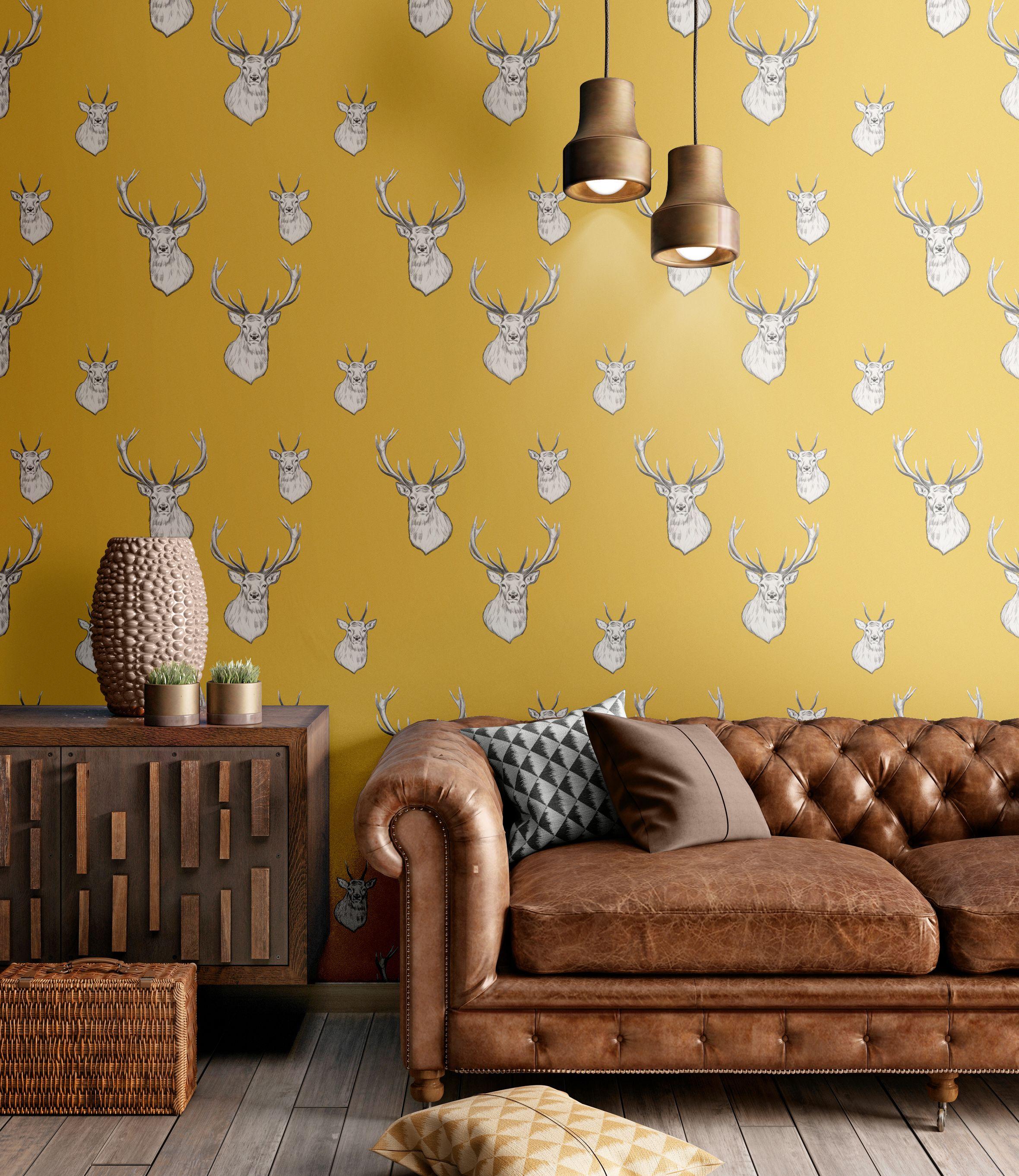 Stag Ochre Contemporary Wallpaper Designs Sophisticated Decor Home Wallpaper