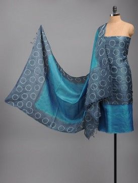 Blue-Grey Tussar Silk Bandhani Kurta Fabric - This exquisite ...