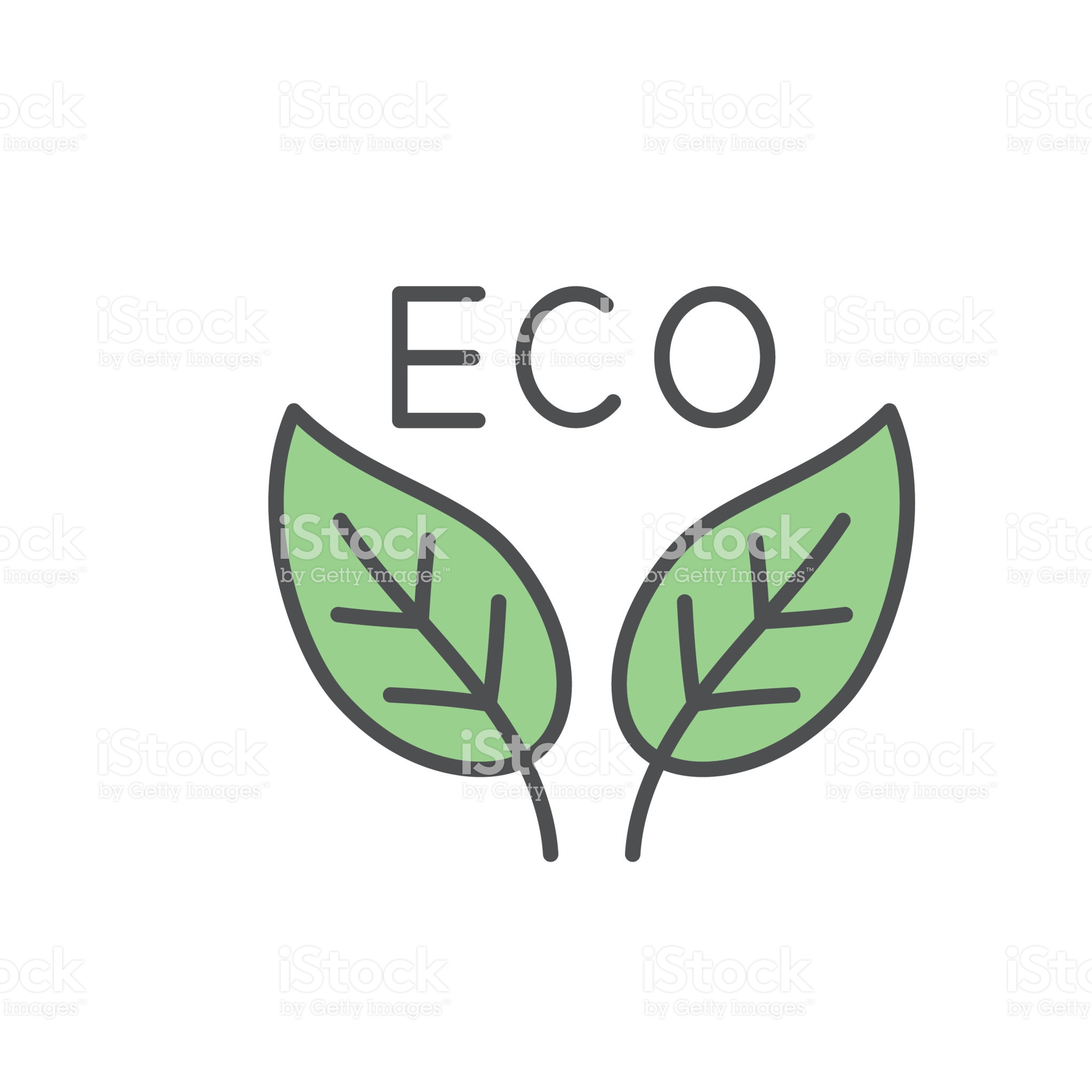 Eco Leaves Environment Icon In Thin Line Flat Design Style Line Icon Thin Line Icon Illustration