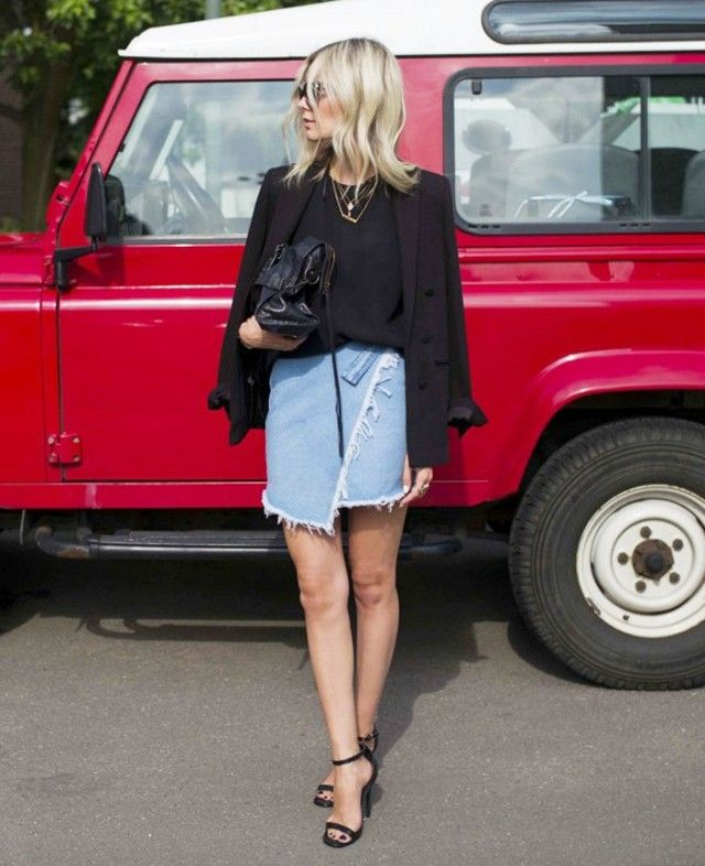 Dress up your denim miniskirt with a black blazer and ankle-strap heels.