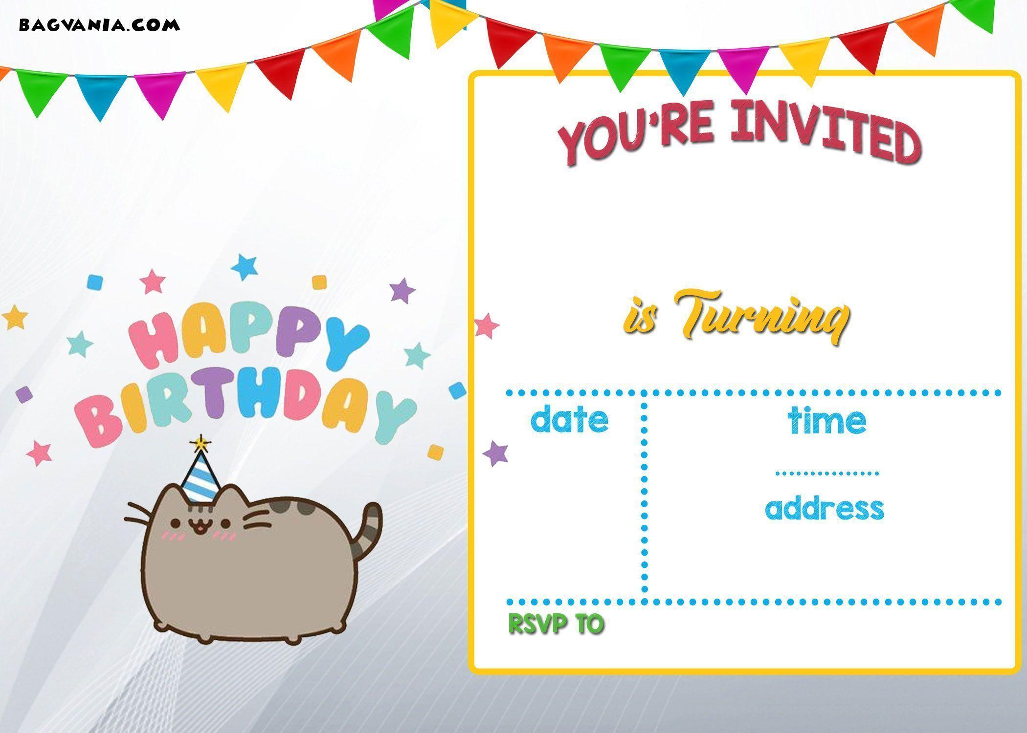 Free Printable Pusheen Birthday Invitation Template Free Printable Birthday In 2020 With Images Birthday Party Invitation Templates Free Printable Birthday Invitations Party Invite Template