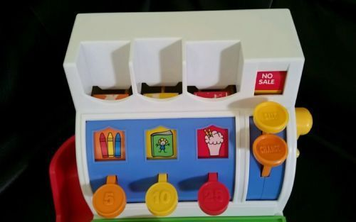 1994 Fisher Price Vintage Working Cash Register With 5 Coins Educational Toy
